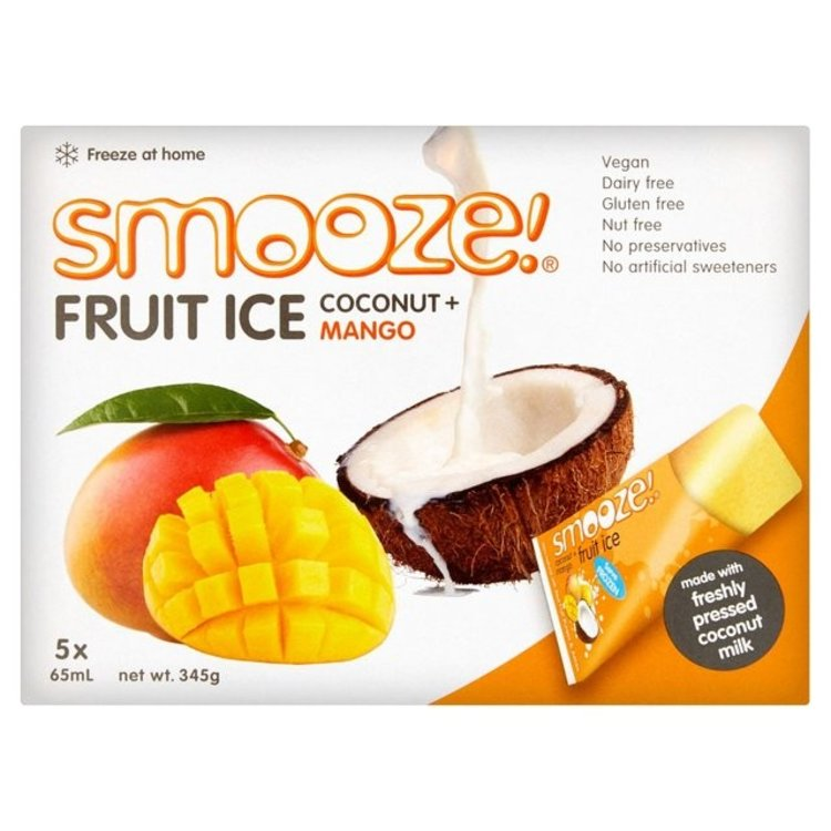 Smooze fruit ice mango and coconut lollies