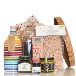 Limited Edition Italian Vegan Food Gift Hamper in Vintage Hat Box Inc. Modican Chocolate, Olive Oil & Hazelnuts
