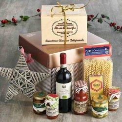 Vegetarian Italian Christmas Lunch with Organic Red Wine Gift Hamper Inc. Panettone, Pasta & Sauce