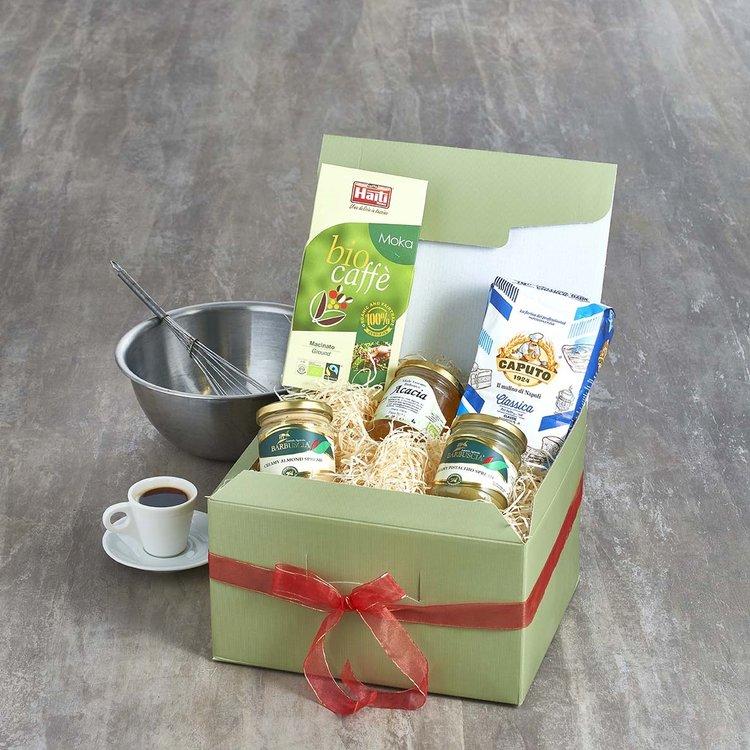 Italian Pancake & Coffee Gift Hamper Inc. Caputo Flour, Fairtrade Arabica Coffee & Fig Jam