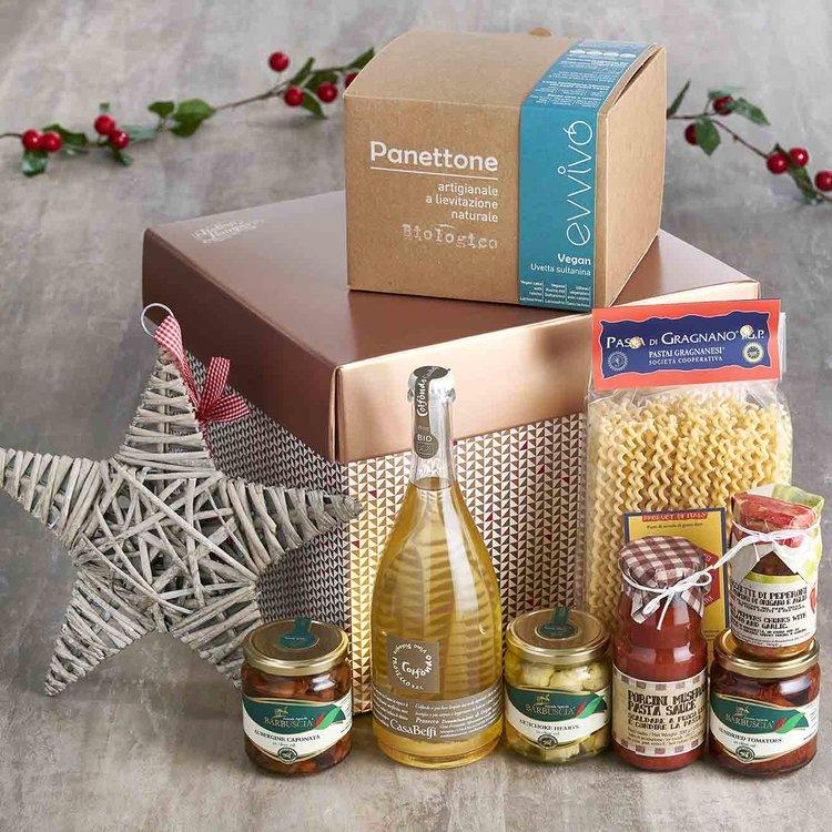 Vegan Italian Christmas Lunch with Organic Prosecco Gift Hamper Inc. Vegan Panettone, Pasta & Sauce