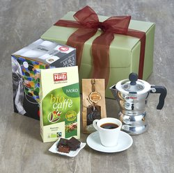 Italian Fairtrade Arabica Coffee & Alessi Moka Coffee Pot Gift Set