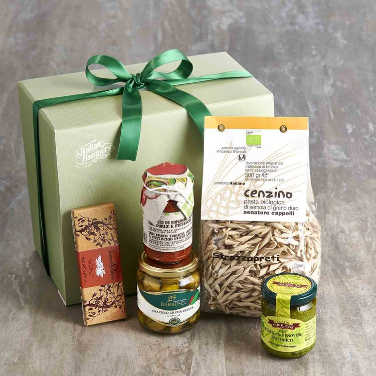 Italian Vegan Gift Box Inc. Sicilian Olives, Pasta, Modican Chocolate & Pesto