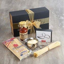 Italian Gragnano Spaghetti Kit Gift Box Inc. Alessi Spaghetti Measure, Parmesan Cheese Dish & Parmigiano Reggiano
