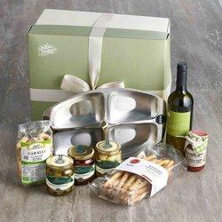 Italian Aperitivo Gift Set with Alessi Platter Dish, Taralli, Olives & Chardonnay Wine