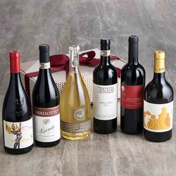 Deluxe Organic Italian Wine Selection Gift Box with Red, White & Prosecco Wines