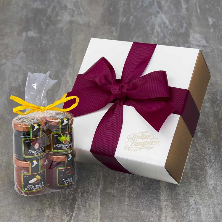 4 Italian Mini Jams Cheese Accompaniment Gift Box with Chilli & Pear, Onion, Chilli Pepper & Fig Jams