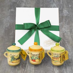 3 Italian Herb Terracotta Pots Set in Gift Box