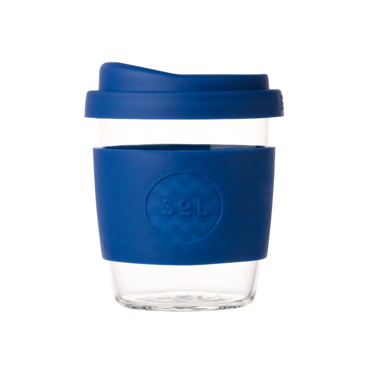 8oz Winter Bondi Blue Reusable Glass Coffee Cup with Lid