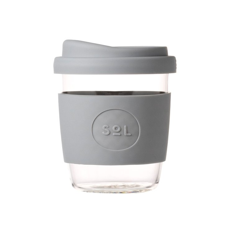 8oz Cool Grey Reusable Glass Coffee Cup with Lid