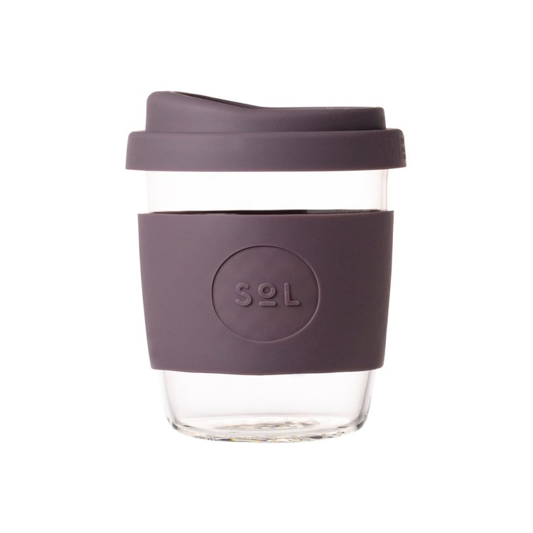 8oz Mystic Mauve Reusable Glass Coffee Cup with Lid