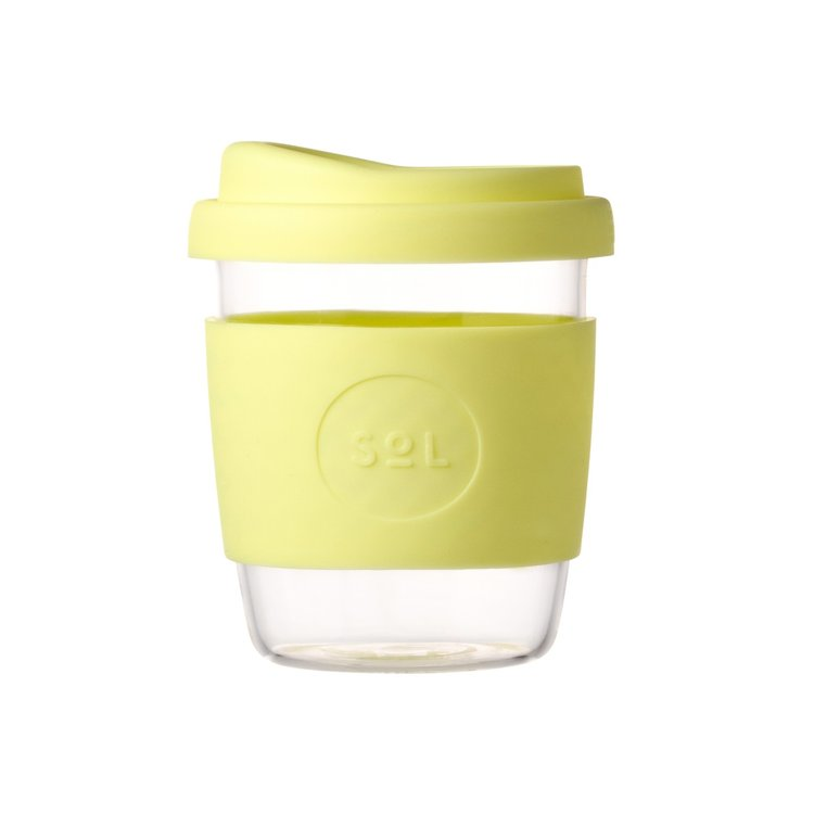 8oz Yummy Yellow Reusable Glass Coffee Cup with Lid
