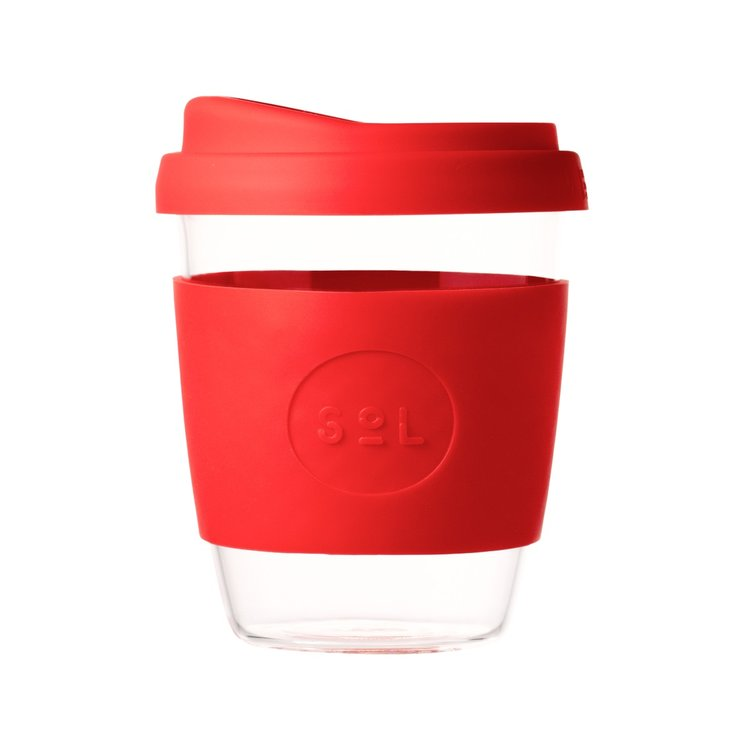 12oz Rocket Red Reusable Glass Coffee Cup with Lid