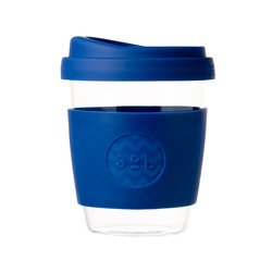 12oz Winter Bondi Blue Reusable Glass Coffee Cup with Lid