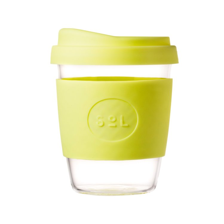 12oz Yummy Yellow Reusable Glass Coffee Cup with Lid