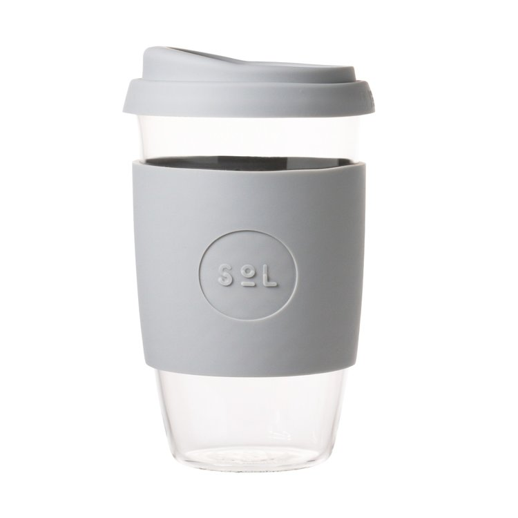 16oz Cool Grey Reusable Glass Coffee Cup with Lid