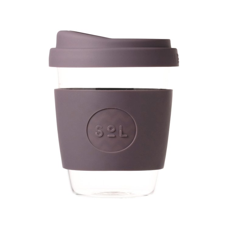 12oz Mystic Mauve Reusable Glass Coffee Cup with Lid