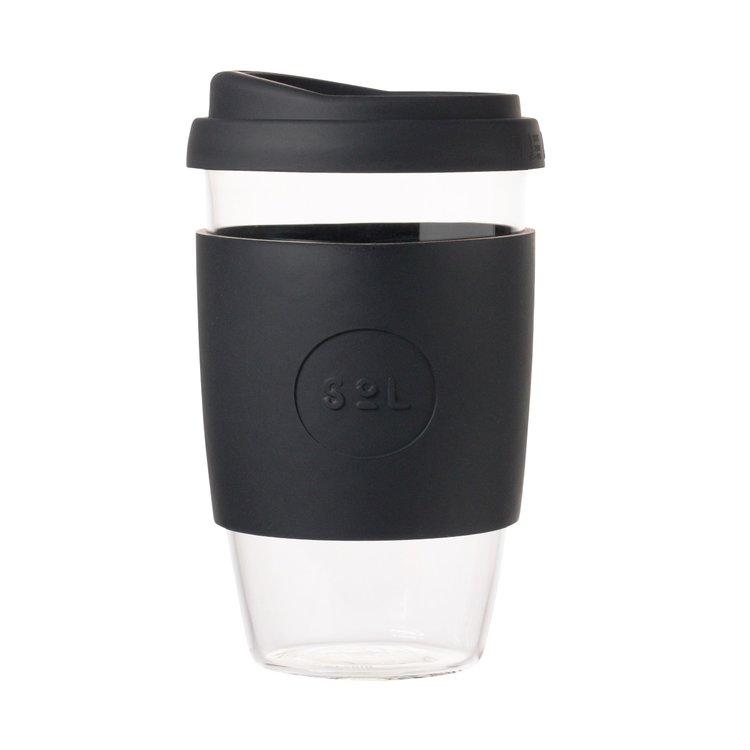 16oz Basalt Black Reusable Glass Coffee Cup with Lid