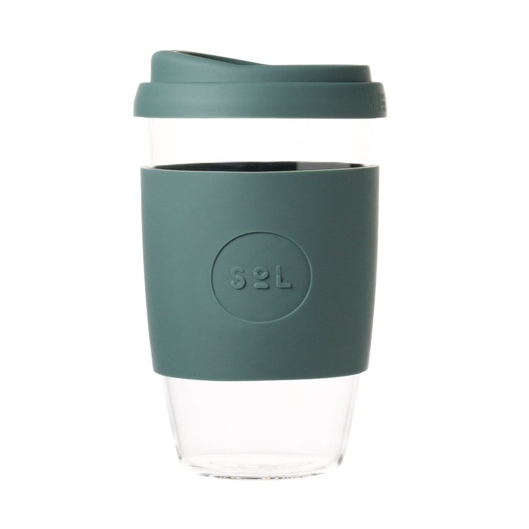 16oz Deep Sea Green Reusable Glass Coffee Cup with Lid