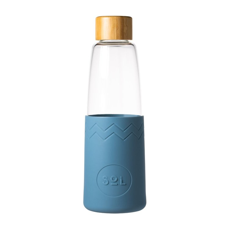 Blue Stone Reusable Glass Water Bottle with Bamboo Lid & Hemp Bag 850ml