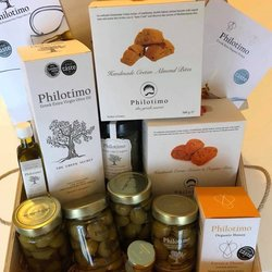 Luxury Greek Gift Hamper in Engraved Wooden Box Inc. Olive Oil, Honeys, Olives & Biscuits