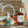 Christmas Pudding Gin Liqueur Wicker Gift Hamper Inc. Tonic Water, Chocolate, Popcorn & Shot Glasses