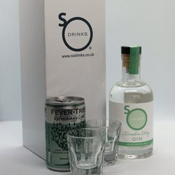 London Dry Gin Gift Box Inc. 20cl London Dry Gin, 2 Shot Glasses & Fever Tree Tonic Water