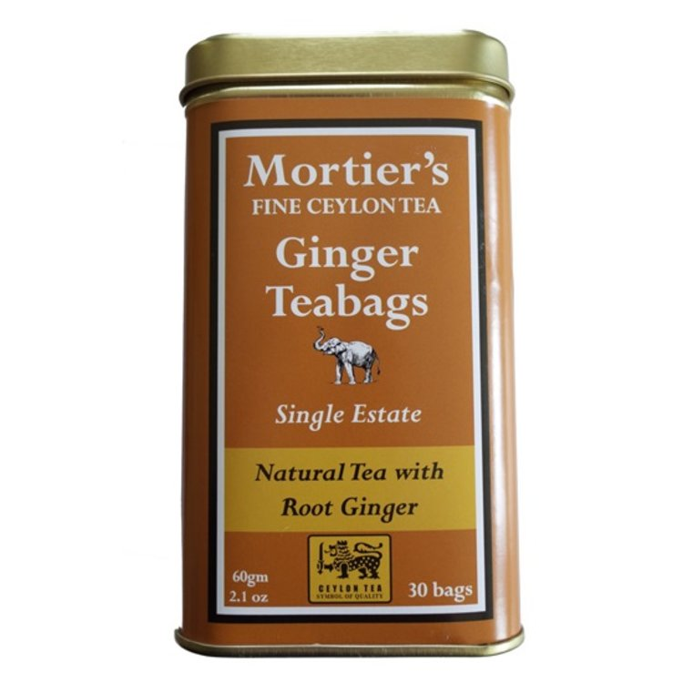 Ginger Tea Bags - Ginger & Black Tea Bags in Tin Caddy 30 Tea Bags