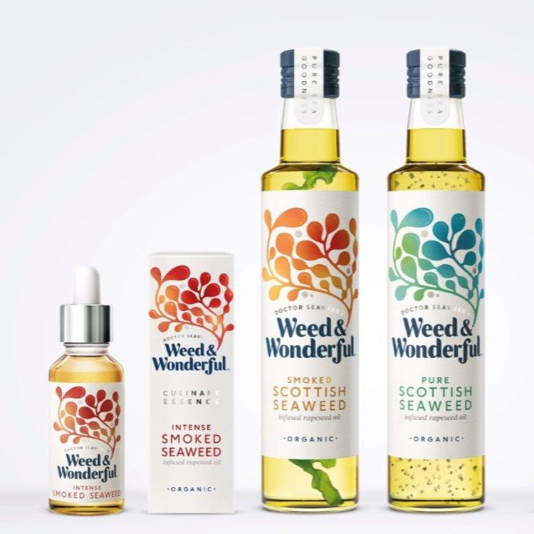 Seaweed Infused Oils Gift Set Inc. Smoked Culinary Essence, Pure & Smoked Seaweed Oils