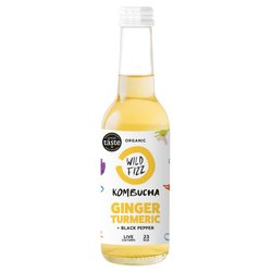 12 x Sparkling Ginger Organic Kombucha Tea with Turmeric & Black Pepper 330ml (Raw, Vegan)