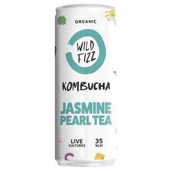 12 x Sparkling Jasmine Pearl Organic Kombucha Tea Cans 250ml (Raw, Vegan)