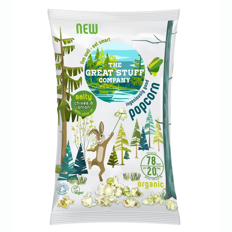 10 Packs 'Salty' Chives & Onion Organic Popcorn Snack with Olive Oil (10 x 20g)