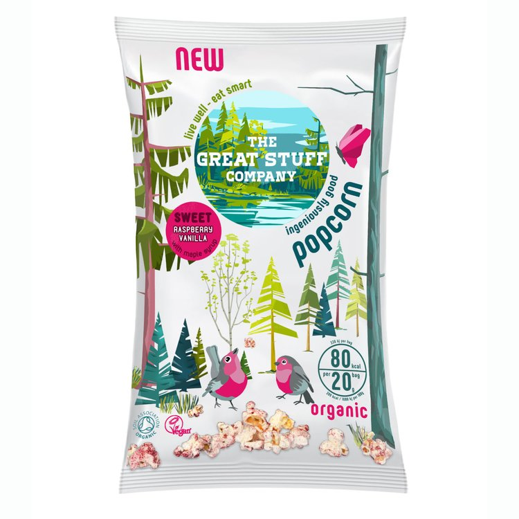 10 Packs 'Sweet' Raspberry & Vanilla Organic Popcorn Snack with Maple Syrup (10 x 20g)