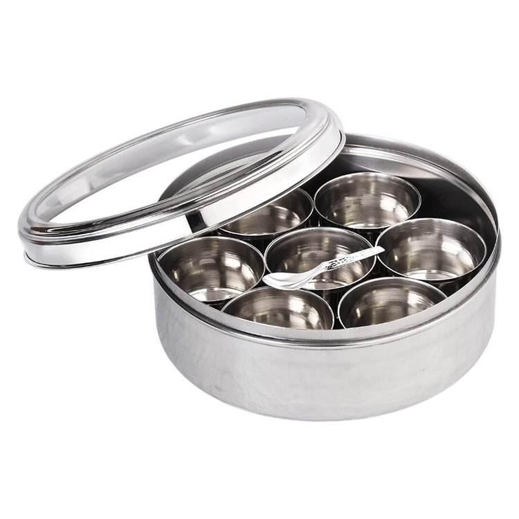 Stainless Steel Masala Dabba Indian Spice Tin with Spoon