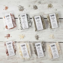 7 Flavoured Sea Salts Collection Set by Salt Pigs Inc. Basil, Tomato, Chilli & Rosemary Salts