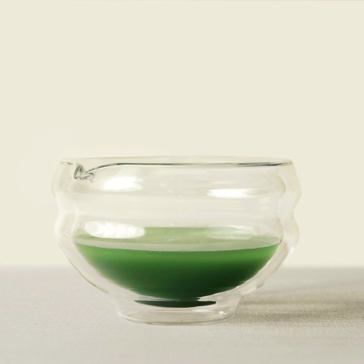 Glass Katakuchi (Spouted Bowl) Matcha Tea Brewing Bowl