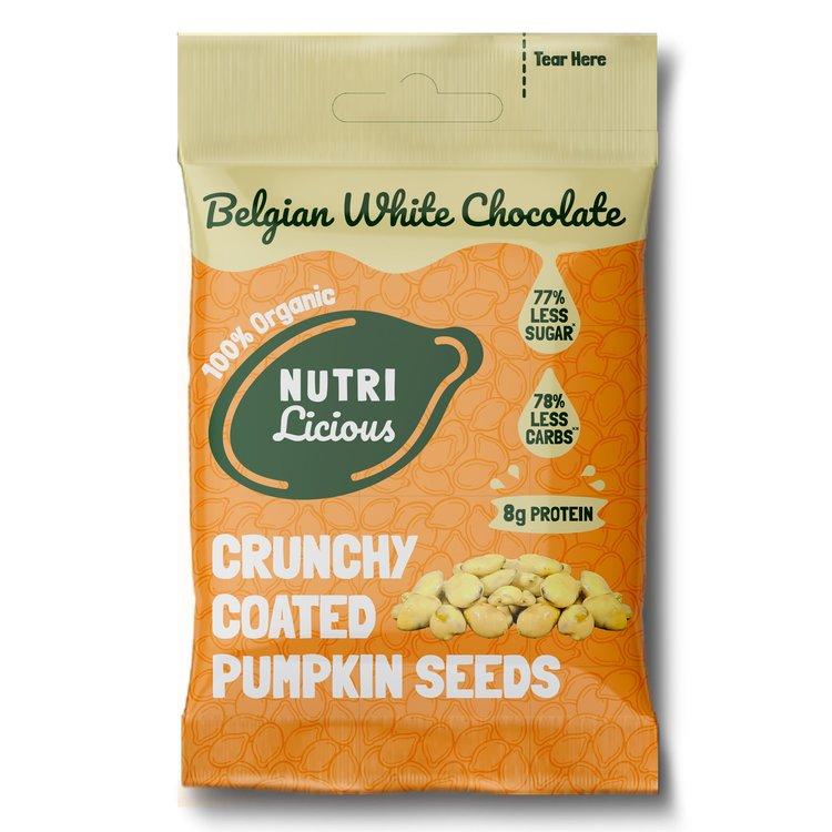 12 x Organic White Chocolate Pumpkin Seed Protein Bites Snacks (12 x 30g)
