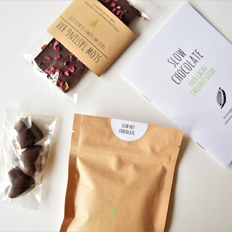 Slow Dark Chocolate Love Gift Box Inc. Chocolate Hearts with Sea Salt, Rose & Raspberry Bar & Hot Drinking Chocolate