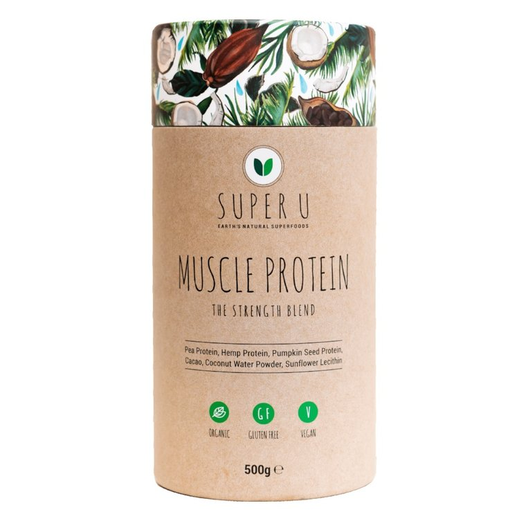 'Muscle Protein' Strength Organic Protein Powder Blend Inc. Hemp, Pea & Pumpkin Seed 150g (Vegan)