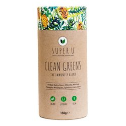 'Clean Greens' Immunity Organic Superfood Blend Inc. Baobab, Wheatgrass & Spirulina 150g