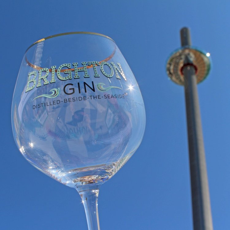 Brighton Gin Goblet Glass with Real Gold Rim for Gin & Tonic