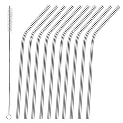 Curved Stainless Steel Metal Reusable Drinking Straws with Wire Cleaning Brush