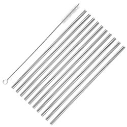 Straight Stainless Steel Metal Reusable Drinking Straws with Wire Cleaning Brush