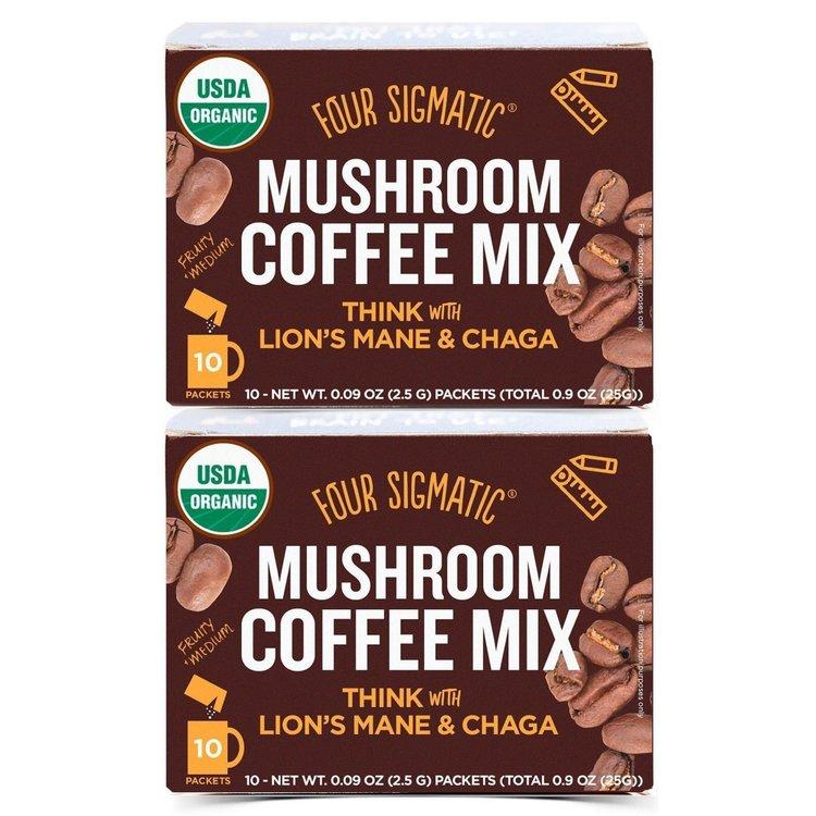 2 x Organic Mushroom Coffee by Four Sigmatic with Lions Mane & Chaga 10 Sachets