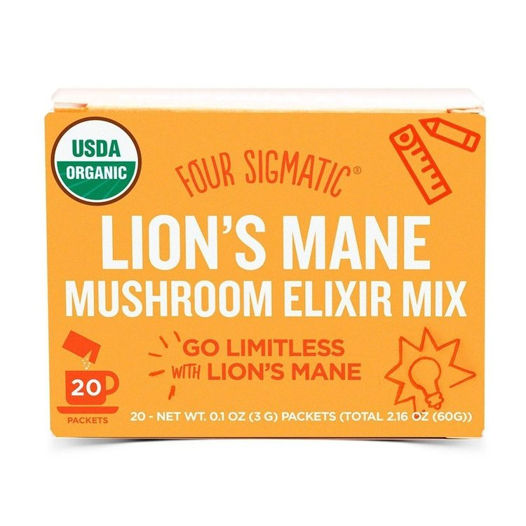Instant Lion's Mane Mushroom Elixir Organic Drink Mix by Four Sigmatic 20 Sachets