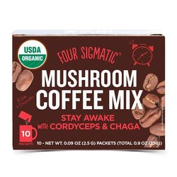 Organic Mushroom Coffee Mix 'Stay Awake' with Cordyceps & Chaga by Four Sigmatic 10 Sachets