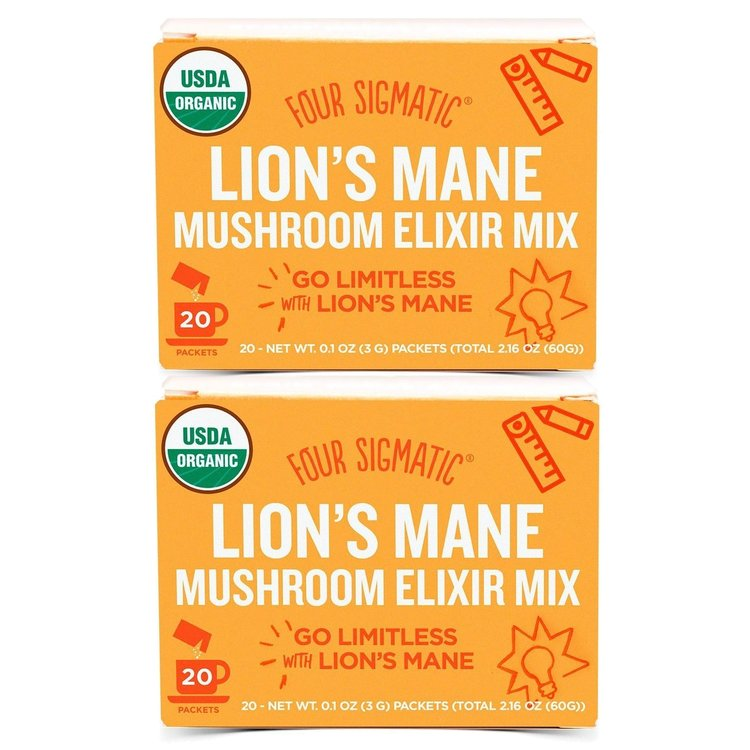 2 x Instant Lion's Mane Mushroom Elixir Organic Drink Mix by Four Sigmatic 20 Sachets