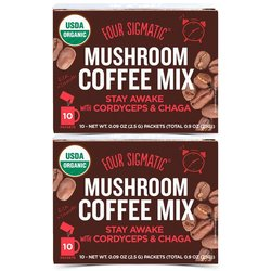 2 x Organic Mushroom Coffee Mix 'Stay Awake' with Cordyceps & Chaga by Four Sigmatic 10 Sachets