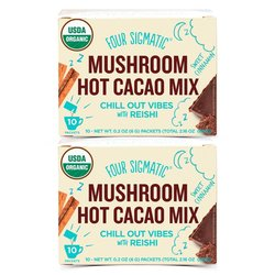 2 x Organic Mushroom Hot Cacao Drink Mix with Reishi & Cinnamon by Four Sigmatic 10 Sachets