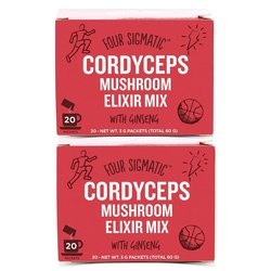 2 Instant Cordyceps Mushroom Elixir Organic Drink Mix with Ginseng by Four Sigmatic 20 Sachets